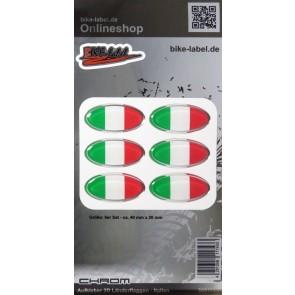 Aufkleber 3D Länder-Flaggen - Italien Italy mit Chromrand 6 Stck. je 40 x 20 mm