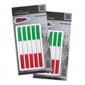 Aufkleber 3D Länder-Flaggen - Italien mit Chromrand 120 x 10 mm (2er Set)