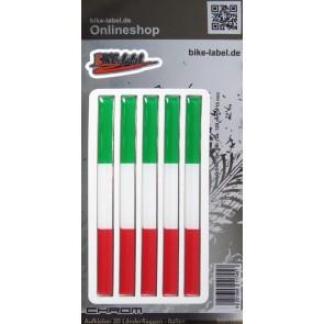Aufkleber 3D Länder-Flaggen - Italien Italy mit Chromrand 5 Stck. je 120 x 10 mm