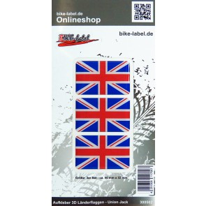Aufkleber 3D Länder-Flaggen Union Jack - England 50 x 32 mm