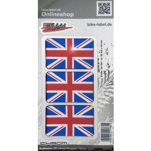 Aufkleber 3D Länder-Flaggen Union Jack - England mit Chromrand