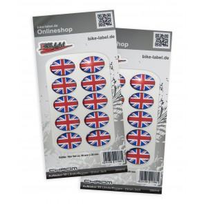 Aufkleber 3D Länder-Flaggen Union Jack - England Chrom (2er Set)