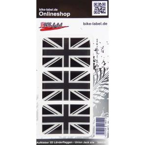 Aufkleber 3D Länder-Flaggen Union Jack - England s/w 62 x 40 mm