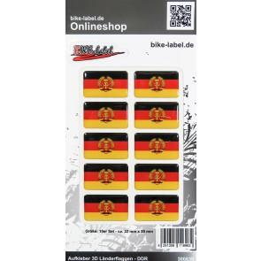 Aufkleber 3D Länder-Flaggen - DDR 10 Stck. je 32 x 20 mm