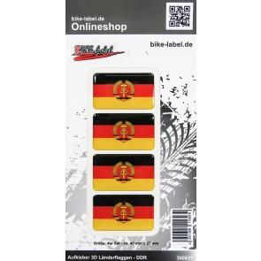 Aufkleber 3D Länder-Flaggen - DDR 4 Stck. je 45 x 27 mm