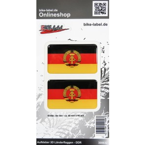 Aufkleber 3D Länder-Flaggen - DDR 2 Stck. je 65 x 40 mm