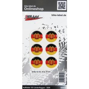 Aufkleber 3D Länder-Flaggen - DDR 6 Stck. Durchmesser ca. 25 mm