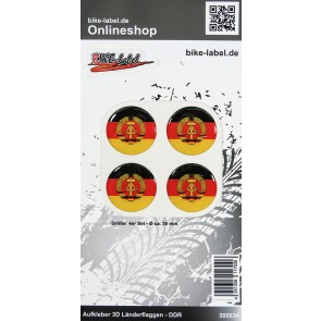 Aufkleber 3D Länder-Flaggen - DDR 4 Stck. Durchmesser ca. 30 mm