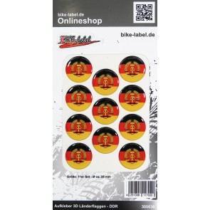 Aufkleber 3D Länder-Flaggen - DDR 11 Stck. Durchmesser ca. 25 mm