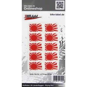 Aufkleber 3D Länder-Flaggen - Rising Sun 10 Stck. je 30 x 20 mm