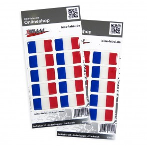 Aufkleber 3D Länder-Flaggen - Frankreich 40 x 20 mm (2er Set)