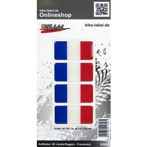 Aufkleber 3D Länder-Flaggen - Frankreich France 4 Stck. je 50 x 25 mm