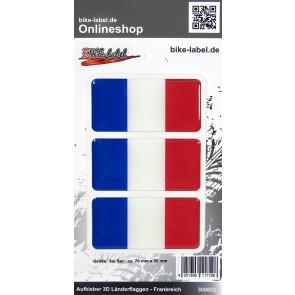 Aufkleber 3D Länder-Flaggen - Frankreich France 3 Stck. je 70 x 35 mm