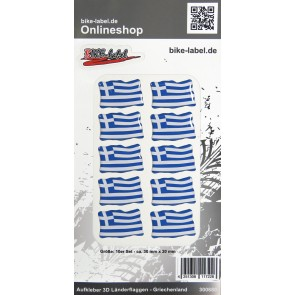 Aufkleber 3D Länder-Flaggen - Griechenland Greece 10 Stck. je 30 x 20 mm