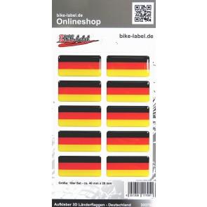Aufkleber 3D Länder-Flaggen - Deutschland 10 Stck. je 40 x 20 mm
