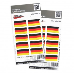 Aufkleber 3D Länder-Flaggen - Deutschland 40 x 10 mm (2er Set)