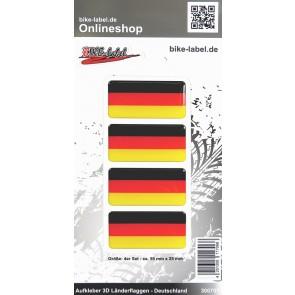 Aufkleber 3D Länder-Flaggen - Deutschland 4 Stck. je 50 x 25 mm