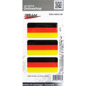 Aufkleber 3D Länder-Flaggen - Deutschland 3 Stck. je 70 x 35 mm