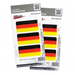 Aufkleber 3D Länder-Flaggen - Deutschland 70 x 35 mm (2er Set)