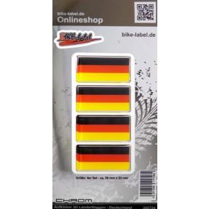 Aufkleber 3D Länder-Flaggen - Deutschland mit Chromrand 4 Stck. je 50 x 25 mm