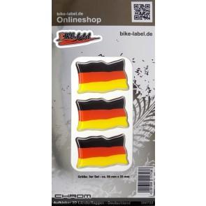 Aufkleber 3D Länder-Flaggen - Deutschland mit Chromrand 3 Stck. je 50 x 33 mm