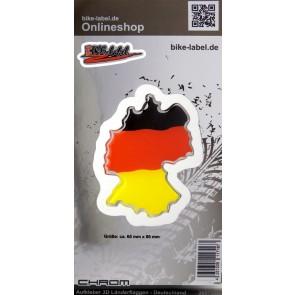 Aufkleber 3D Länder-Flaggen - Deutschland Länderumriss mit Chromrand  60 x 80 mm
