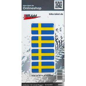 Aufkleber 3D Länder-Flaggen - Schweden Sweden 4 Stck. je 50 x 25 mm