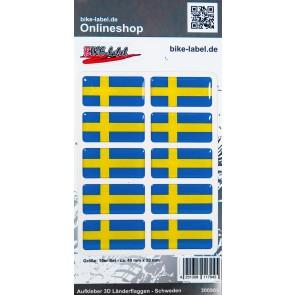 Aufkleber 3D Länder-Flaggen - Schweden Sweden 40 x 20 mm