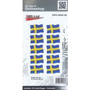 Aufkleber 3D Länder-Flaggen - Schweden Sweden 10 Stck. je 30 x 20 mm