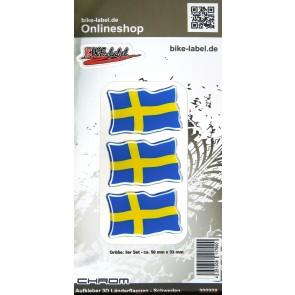 Aufkleber 3D Länder-Flaggen - Schweden mit Chromrand 3 Stck. je 50 x 33 mm