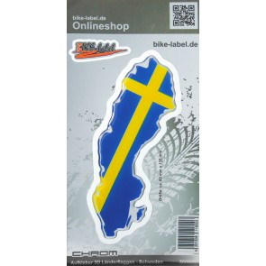 Aufkleber 3D Länder-Flaggen - Schweden mit Chromrand 60 x 135 mm