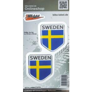 Aufkleber 3D Länder-Flaggen - Schweden mit Chromrand 2 Stck. je 50 x 58 mm