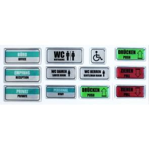 """3D Türschild Aufkleber Großes Set Alu""""Hinweisschilder - Englisch"""" - WC, Büro, Privat, Empfang, Personal, Ziehen, Drücken"""