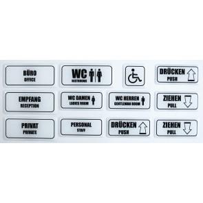 """3D Türschild Aufkleber Großes Set weiß """"Hinweisschilder - Englisch"""" - WC, Büro, Privat, Empfang, Personal, Ziehen, Drücken"""