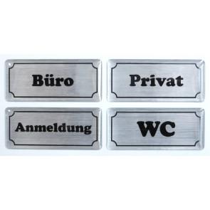 """3D Türschild Aufkleber - Set - Alu gebürstet """"Hinweisschilder"""" - WC, Büro, Privat, Anmeldung"""