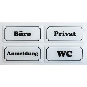 """3D Türschild Aufkleber - Set - Weiß """"Hinweisschilder"""" - WC, Büro, Privat, Anmeldung"""