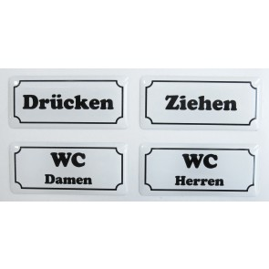 "3D Türschild Aufkleber - Set - Weiß ""Hinweisschilder"" - WC, Drücken, Ziehen"