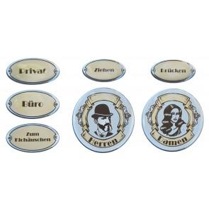 """3D Türschild Aufkleber - Set - Silber """"Rustikal / Vintage - Hinweisschilder"""""""