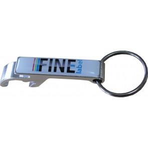 Flaschen- und Dosenöffner Schlüsselanhänger mit passendem 3D Sticker