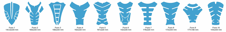 Tankpad-Vorlagen Formen 1 bis 10