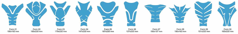 Tankpad-Vorlagen Formen 21 bis 30