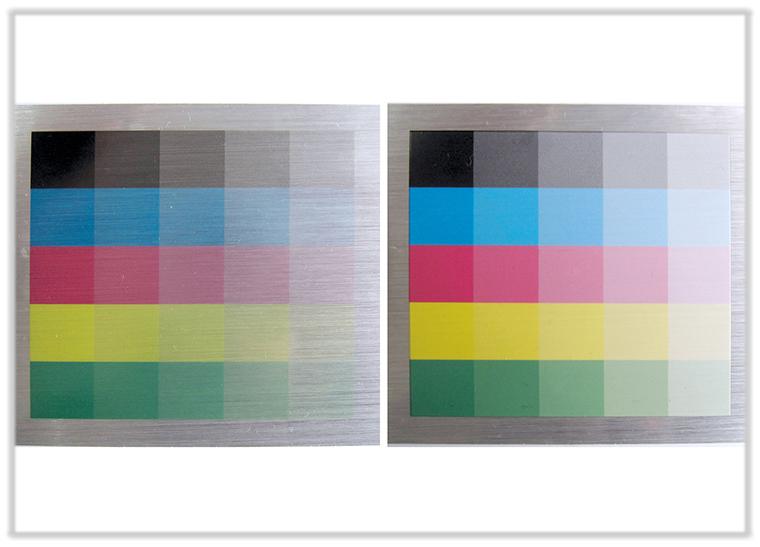 Beispielbilder ohne und mit Weißdruck - auf Alu gebürsteter Folie