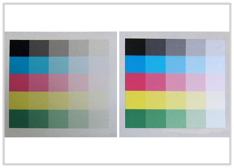 Beispielbilder ohne und mit Weißdruck - auf Chrom-Folie